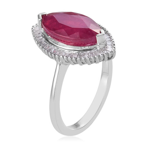 AA African Ruby and Diamond Platinum Overlay Sterling Silver Ring 4.13 Ct