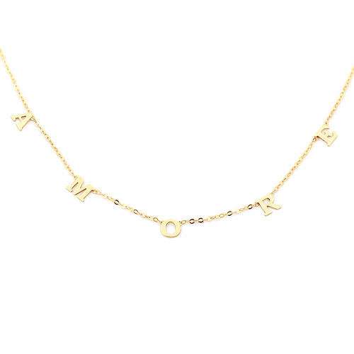 Italian Made - Tuscany Collection- 9K Yellow Gold Amore Station Necklace (Size 18)