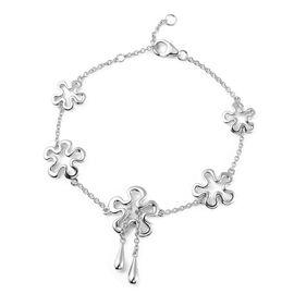 LucyQ Splash Collection - Rhodium Overlay Sterling Silver Bracelet (Size 7 / 7.5 / 8)