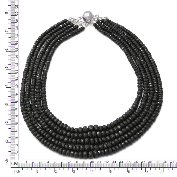 One Time Deal-Boi Ploi Black Spinel (Rnd) Beaded Necklace (Size 17.5) in Sterling Silver 800.00 Ct.