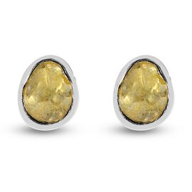 Artisan Crafted Yellow Polki Diamond Stud Earrings (with Push Back) in Platinum Overlay Sterling Sil