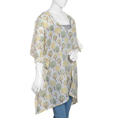 100% Cotton Yellow, Green and Off White Colour Tree Pattern Kaftan (Size 80x70 Cm)