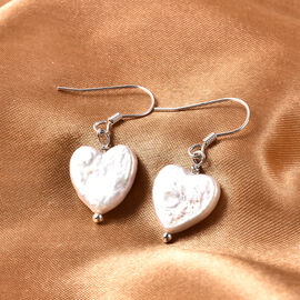 White Baroque Pearl Heart Hook Earrings in Rhodium Overlay Sterling Silver