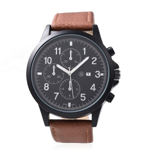 STRADA Japanese Movement Water Resistant Watch with Brown Colour Strap