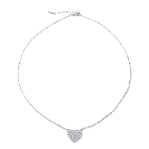 ELANZA Simulated Diamond (Rnd) Heart Pendant Necklace (Size 16 and 1 inch Extender) in Rhodium Overl