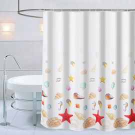 Sea-inspired Printed Waterproof Shower Curtains (Size 180x180cm) with 12 Hooks - White