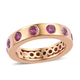 1.75 Ct African Ruby Flush Setting Band Ring Gold Plated Sterling Silver 4.35 Grams