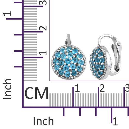 AA Malgache Neon Apatite (Rnd) Earrings (with Clip Lock) in Platinum Overlay Sterling Silver 1.500 Ct.