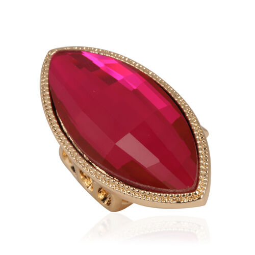 Rose Glass Ring in Gold Tone