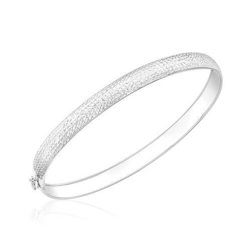 Italian Made 9K White Gold Diamond Cut Bangle Size 7 Inch
