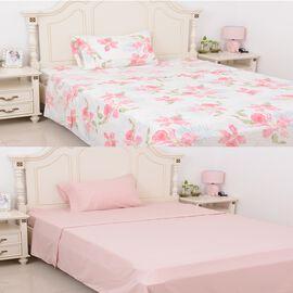 6 Piece Set  - 2xFitted Sheet, 2xFlat Sheet and 2x Pillow Case - Pink - Single