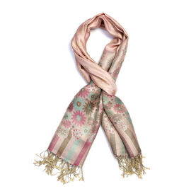 SILK MARK - 100% Superfine Silk Rose, Purple and Multi Colour Floral and Stripe Pattern Scarf (Size