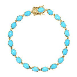 9K Yellow Gold Arizona Sleeping Beauty Turquoise (Ovl) Bracelet (Size 7.5) 14.00 Ct, Gold wt 7.55 Gm