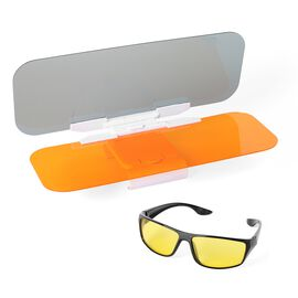 2 Piece Set - HD Anti-Glare Day and Night Visor (Size 32x10 Cm) and Vision Driving Glasses (Size 14x