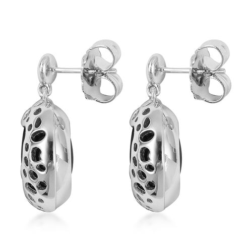 Limited Edition-RACHEL GALLEY Boi Ploi Black Spinel Lattice Earrings (with Push Back) in Rhodium Overlay Sterling Silver 44.160 Ct