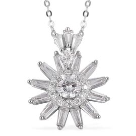 ELANZA Simulated White Diamond Flower Pendant with Chain in Rhodium Plated Sterling Silver