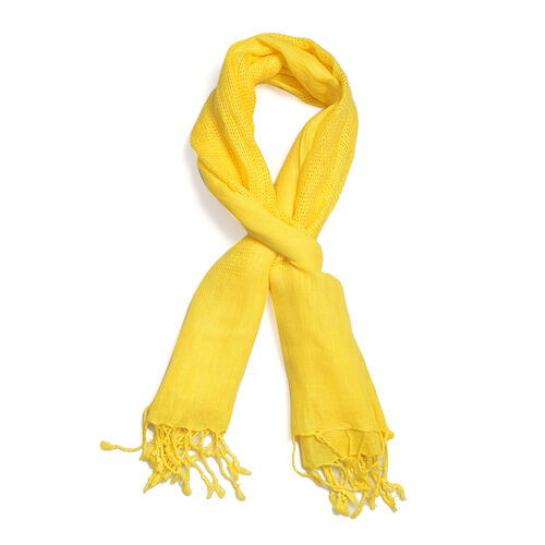 New Season Linen Handloom Woven Yellow Colour Shawl (Size 180x70 Cm)