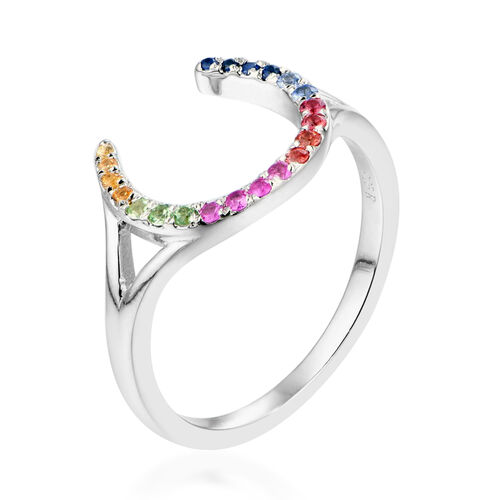 RACHEL GALLEY - Rainbow Sapphire Horseshoe Ring in Rhodium Overlay Sterling Silver