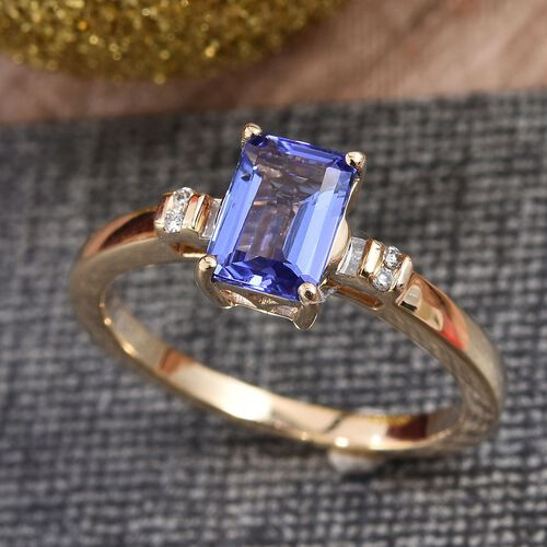 Close Out Deal-  14K Yellow Gold AA Tanzanite (Oct 7x5mm) and Diamond Ring 1.00 Ct.