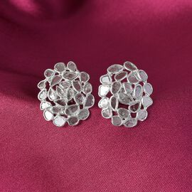 Artisan Crafted Polki Diamond Stud Earrings (with Push Back) in Platinum Overlay Sterling Silver 1.5