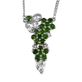 Russian Diopside (Rnd) and Natural White Cambodian Zircon Necklace (Size 18) in Platinum Overlay Ste