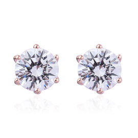 Made with Swarovski Zirconia Solitaire Earrings in Rose Gold Plated Sterling Silver