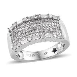 GP Diamond  (Bgt and Rnd), Kanchanaburi Blue Sapphire Ring in  Platinum Overlay Sterling Silver 0.78