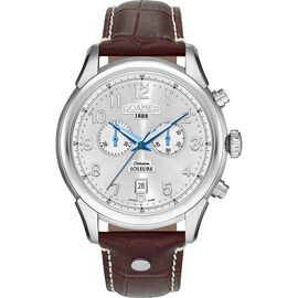 ROAMER Swiss Movement Water Resistant Watch in Stainless Steel with Chronograph Display and Brown Co