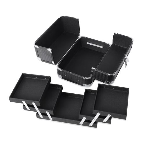 Extendable 4 Tier Vanity Case (Size 28x17x20 Cm) - Black