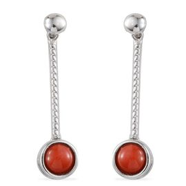 Mediterranean Coral (1.50 Ct) Platinum Overlay Sterling Silver Earring  1.500  Ct.