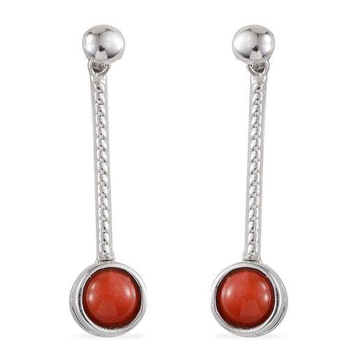 Natural Mediterranean Coral (Rnd) Earrings in Platinum Overlay Sterling Silver 1.500 Ct.
