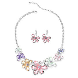 2 Piece Set - White Austrian Crystal Pink and Multi Colour Enamelled Floral Necklace (Size 20 with 2