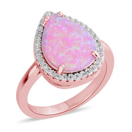 New Concept - Simulated Pink Opal (Pear), Simulated Diamond Ring in Rose Gold Bond
