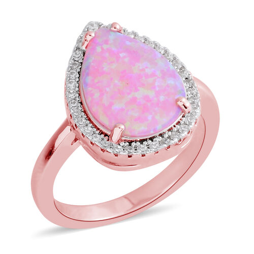 Simulated Opal (Pear), Simulated Diamond Ring in Rose Gold Plated 3.230 Ct.