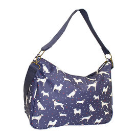 Nicole Brown Doggy Pattern Shoulder Bag with 120cm Adjustable Strap in Navy (Size 25x35x12 cm)
