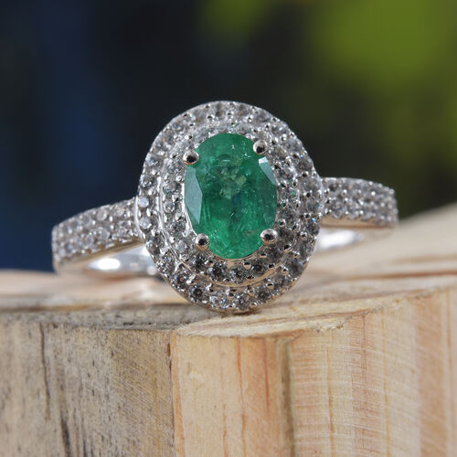 9K White Gold AAA Kagem Zambian Emerald (Ovl), Natural Cambodian Zircon Ring 1.250 Ct.