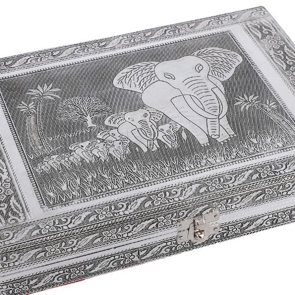 Close Out Deal- Teak Wood Elephant Family Hand Crafted Aluminium Embossed  Ring Box (20X28X5CM)