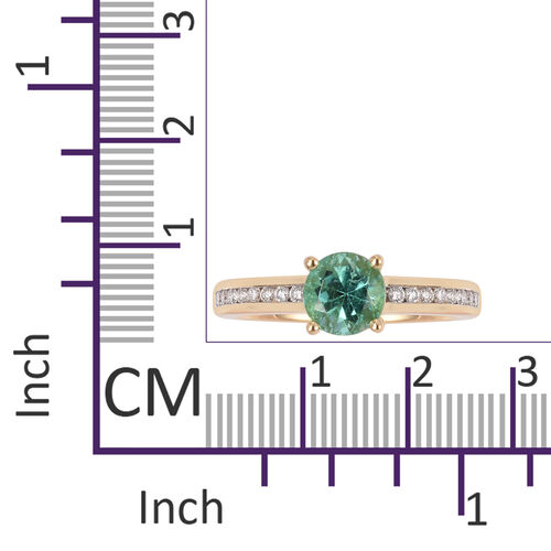 ILIANA 18K Yellow Gold AAA Boyaca Colombian Emerald (Rnd), Diamond (SI/G-H) Ring 1.485 Ct.