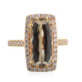 ILIANA 18K Yellow Gold Turkizite and Diamond Ring 5.35 Ct, Gold wt. 5.56 Gms