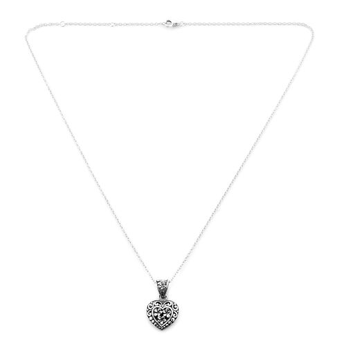 Midnight Mega Deal- Sterling Silver Filigree Heart Necklace (Size 18), Silver wt 4.00 Gms