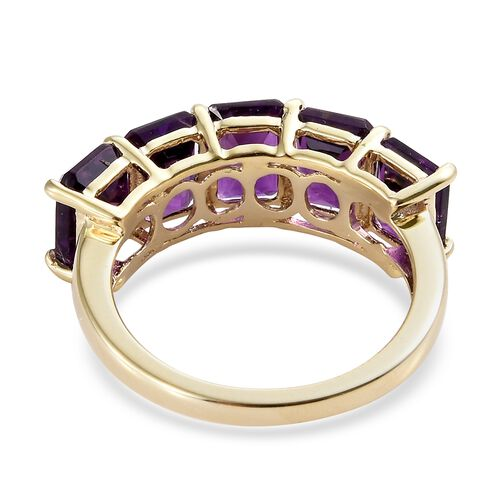 9K Yellow Gold Lusaka Amethyst (Oct) Five Stone Ring 5.000 Ct.