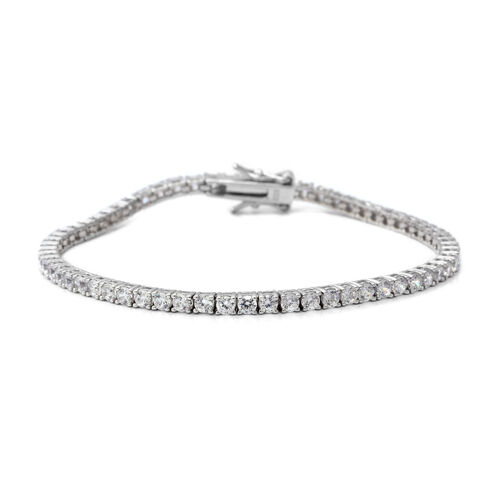 ELANZA Simulated Diamond (Rnd) Bracelet (Size 7.25) in Rhodium Overlay Sterling Silver, Silver wt 6.