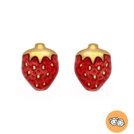 Children Strawberry Stud Earrings in 9K Yellow Gold