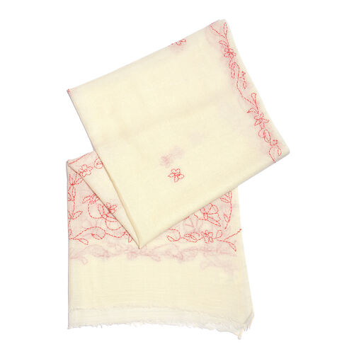 TJC SPECIAL- HAND MADE KANTHA Embroidered 100% Merino Wool White and Red Scarf with Fringes (Size 190X70 Cm)