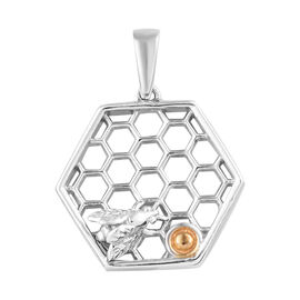 Platinum and Yellow Gold Overlay Sterling Silver Bee and Honeycomb Pendant