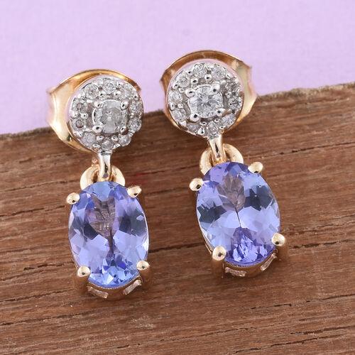 9K Yellow Gold AA Tanzanite (Ovl), Diamond Earrings (with Push Back) 1.600 Ct.