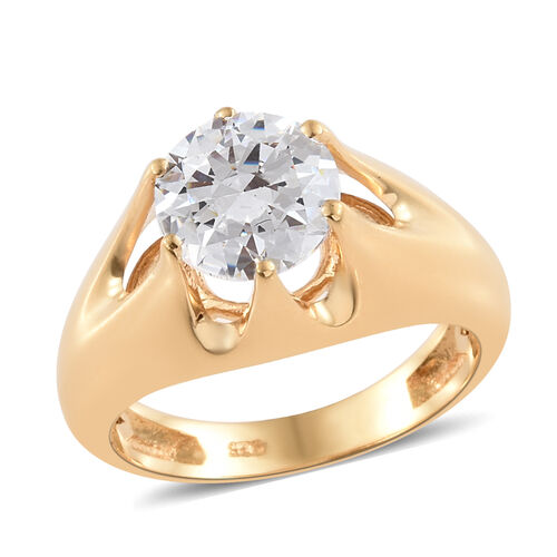 J Francis 14K Gold Overlay Sterling Silver (Rnd) Crown Ring Made with SWAROVSKI ZIRCONIA