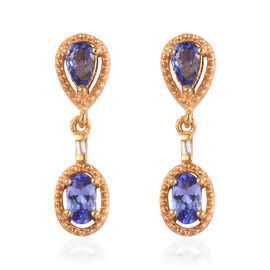 AAA Tanzanite and Natural Cambodian Zircon Dangle Earrings (with Push Back) in 14K Gold Overlay Ster