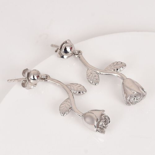 Platinum Overlay Sterling Silver Floral Earrings (with Push Back), Silver wt 6.30 Gms