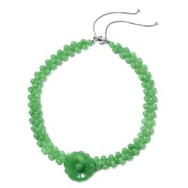 Carved Green Jade Floral Choker Necklace in Rhodium Plated Sterling Silver 5 Grams 277 Ct
